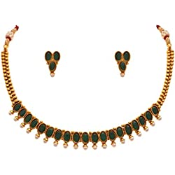 Jfl - Jewellery For Less Traditional Ethnic One Gram Gold Plated Green Stone Designer Necklace Set With Earrings For Women & Girls.