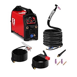 Stamos Germany Inverter Welder TIG MMA Welding Machine Hot Start Torch Portable 2T/4T IGBT 200A 8m Cable Assembly S-WIGMA 200 PRO (230V, HF Ignition, Electrode Diameter 1.6-5.0mm, Ground Cable 8m)
