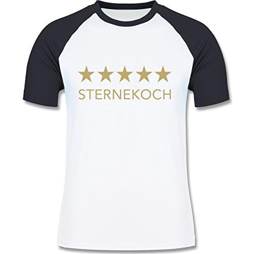 Küche - 5 Sterne Sternekoch - zweifarbiges Baseballshirt für Männer Weiß/Navy Blau
