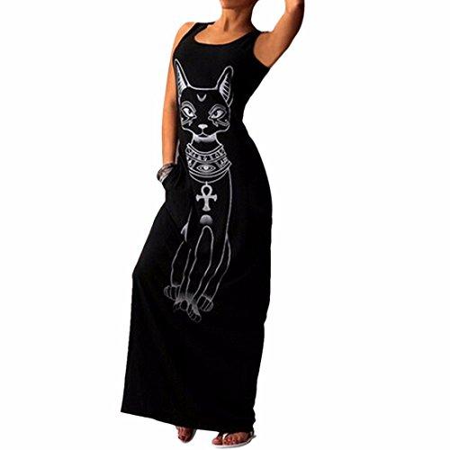 Neck Cat sans manches imprime gris ronde femmes robe de coton Casual Robe longue en vrac Noir