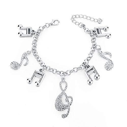 ge Musik Charm Armbänder Für Frauen Silber Gold Farbe Armbänder Kristall Schmuck ()