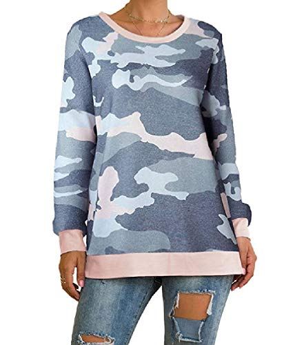 VITryst Womens Long-Sleeve Printing Floral Round Neck Blouse Loose Top Blue M -