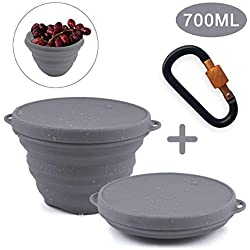 Hootracker Silicone Faltschüssel, Collapsible Bowl Camping Bowl Collapsible Portable Travel Bowl 700ML for Outdoor Camping and Hiking, Travelling, Food-Grade, Space-Saving, Gray
