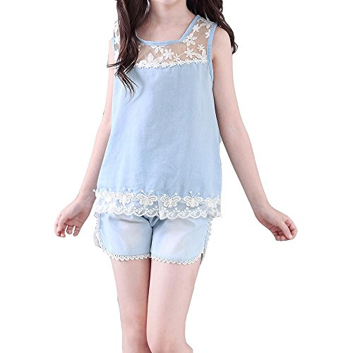nches sans manches pantalons courts à lacets + chemise deux ensembles , light blue , 150cm (Nice Girl Dress Up)