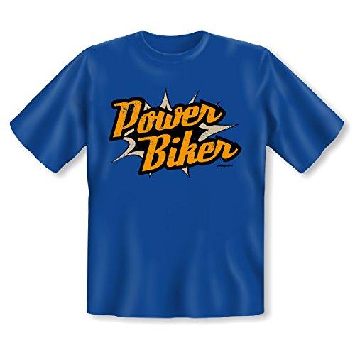 Originelles Biker Sprüche T-Shirt - Power Biker! Goodman Design® Cooles Geschenk für Motorradfreunde! Royal-Blau