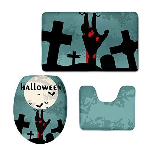 (HOJJP Bath Rug,Halloween Skull Pattern Bath Set with Rug/Contour/Lid Cover for Bathroom 3pc Bath Rug Set)