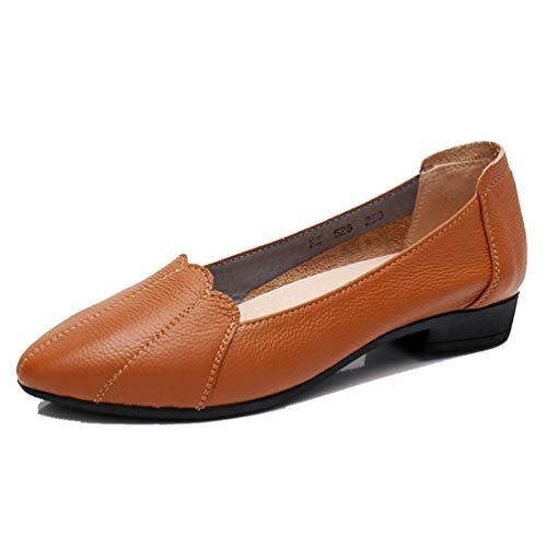Frauen Flache Arbeit Ballerinas Schuhe Slip On Round Toe Kuh Leder Flach Weiblichen Spitzenkante LäSsige Schuhe