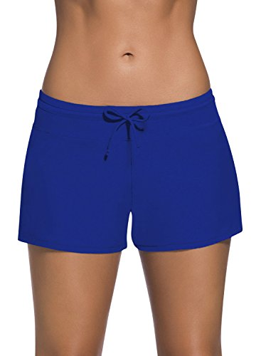 Dolamen Damen Badeshorts Bikinihose Shorts Trunks Badeanzug Bauchweg Badekleid mit verstellbarem Tunnelzug Mini Bikini Slip Beachwear, Boyleg Stil (X-Large, Blau) Mini Womens Slip