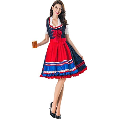NWFS Cute Maid Dress Kostüm Adult Ladies Beer Festival Performance Fashion Kostüm Neuheit Perfect Casual Rock Uniform (Womens Renaissance Kostüm Zubehör)