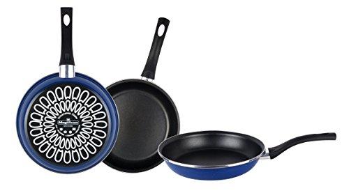 Magefesa Paula Juego Sartenes 18Ø 22Ø 26Ø, Antiadherente bicapa Reforzado, Color Azul Exterior. Apta para Todo Tipo de cocinas, incluida inducción, Acero, 3 Unidades
