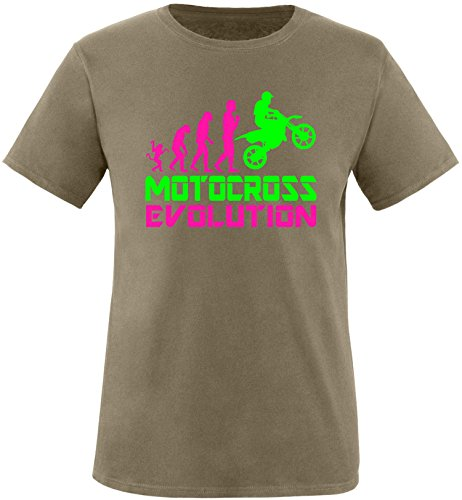 EZYshirt® Motorcross Evolution Herren Rundhals T-Shirt Olive/Pink/Neongr