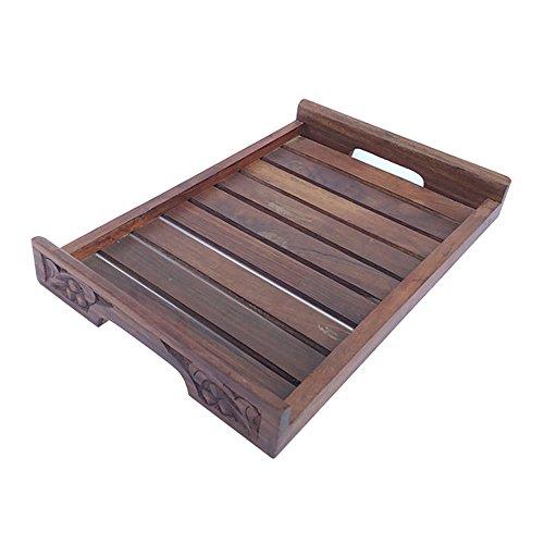 Mojopanda faite à la main décoratifs en bois 25.4 cm Plateau de service plateaux de service pour la cuisine et la salle à manger Table Idéal pour décorer une Pendaison
