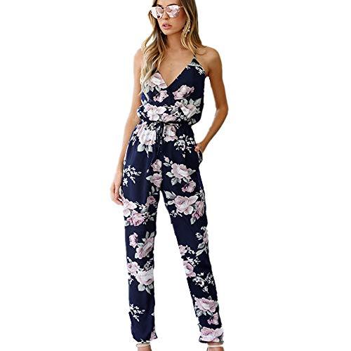 Homebaby - Jumpsuit da donna Elegante Sexy -Pantaloni Lunghi Tuta Estivi Corti Top Donna Crop Top T Shirt Donna Vintage - 2018 Manica Corta Magliette Donna Vestito (XL, Nero)