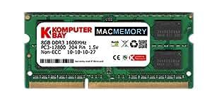 Komputerbay MACMEMORY 8Go PC3-12800 1600MHz SODIMM 204 broches mémoire d'ordinateur portable 10-10-10-27 simple 8Go de bâton pour Apple Mac