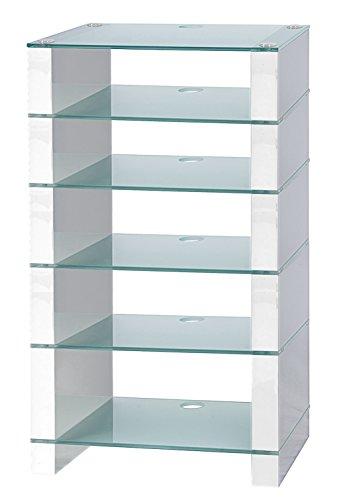 Supporto per HiFi, Supporto per porta, AV Audio Hi-Fi. Bianco Lucido Con Sei ripiani in vetro acidato