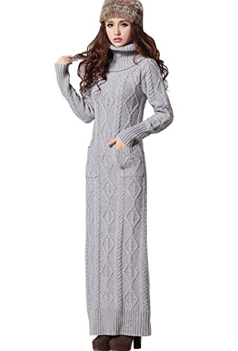 BININBOXDamenkleider Strickkleid Maxikleid Knit dress Rollkragen cable Sweatkleid (L, Dunkelgrau)