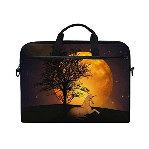 Leinwand Laptop-computer Fall (Ahomy 38,1–39,1cm Laptop Tasche, Einhorn Moon Star Baum Leinwand Stoff Laptop Fall zudem Handtasche mit Schultergurt für Damen und Herren)