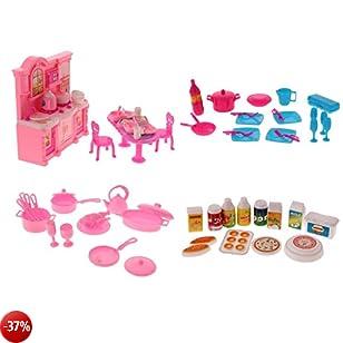 MagiDeal 68 Pezzi 1:12 Casa Bambole Miniatura Vasellame Stovoglie Cucina Set Accessori Per Barbie Plastica Multicolore