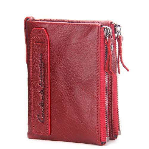 Doppel-zip Herren Aktentasche (XIAOFENG-R Herren Brieftasche Leder Kurze Clutch Mode Geldbörse Horse Leder Doppel Zip Wallet Herren Business Taschen (Color : Red, Size : S))