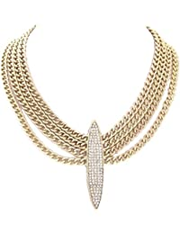 Schmuckanthony Glamour Halskette Kette Ketten Maschen Gold drapiert Anhänger Lang Kristall Klar Transparent