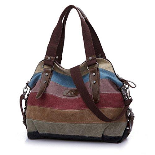 A4 Handtasche Reißverschluss Gestreift Vintage Ethno Canvas Tasche Elegant Schulter Stofftasche Damen
