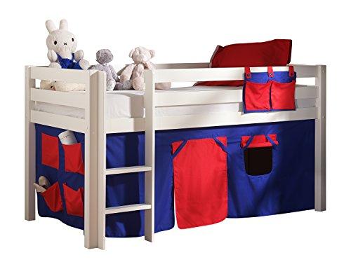 """VIPACK PICOHSZG1475 Spielbett Pino mit Textilset """"Domino"""", Maße 210 x 114 x 106 cm, Liegefläche 90 x 200 cm, Kiefer massiv weiß lackiert"""