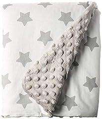 Idea Regalo - LULANDO Copertina da neonato Coperta per bambino 100% cotone (80x100 cm). Super morbido e soffice, materiale antiallergico, traspirante, Oeko-Tex Standard 100. Colore: Grey - Grey Stars/White