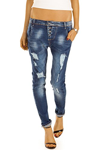 Bestyledberlin Damen Jeans, Destroyed Slim Fit Jeans, Stretch Hüftjeans, Relaxed Baggy Hosen j34f 40/L