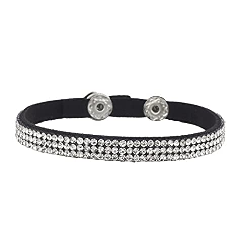 Lux Accessories Black Triple Row Crystal Studded Bling Suede Wrap