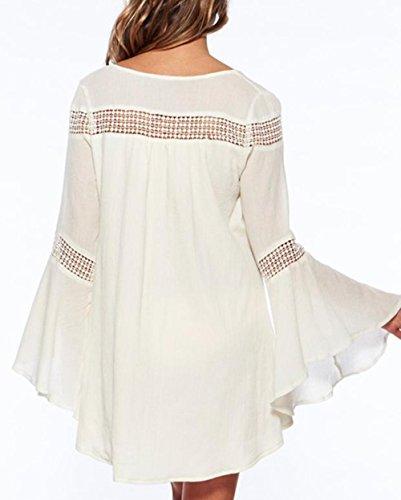 Lannorn Damen 10 Stile Sommer Überwurf Baumwolle Spitze Hohlen Strand Bikini Cover Up Kittel Strandkleid Bademode Kleid. # 245 Weiß
