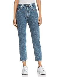 MONYRAY Jeans Donna Vita Alta Boyfriend Mom Jeans Slim Pantaloni in Denim  Stone Wash Lavaggio Scuro ef0e313a80d
