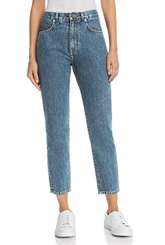 Monyray jeans donna vita alta boyfriend mom jeans slim pantaloni in denim stone wash lavaggio blu chiaro it 48