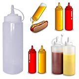JJOnlineStore-6 pezzi, plastica trasparente-Distributore di condimenti Squeeze Bottle Ketchup, senape Chili maionese Sauce aceto in ceramica con coperchio, Trasparente, 8 Oz / 225ml