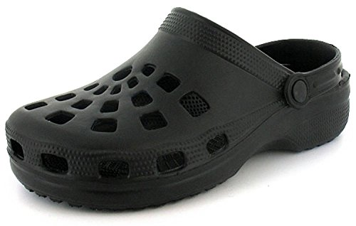 New Mens/Gents Black Slip On Mule Clog Style Sandals With Back Strap. - Black - UK SIZE 11
