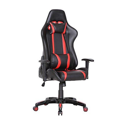 Racing Bürostuhl Chefsessel Gaming-Stuhl Schreibtischstuhl mit Armlehnen - Leder-Optik - Farbwahl (rot)