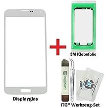 iTG® PREMIUM Juego de reparación de cristal de pantalla para Samsung Galaxy S5 Blanco - Panel táctil frontal oleofóbico para SM-G900F G901F G903F LTE NEO + 3M Adhesivo precortado y iTG® Juego de herramientas