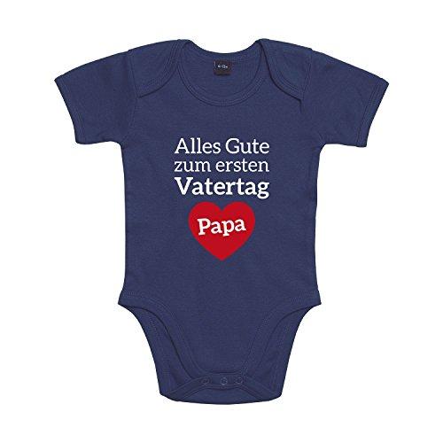 Shirt-Panda Baby Body Vatertag Papa Für Jungen Und Mädchen Mit Motiv Spruch Alles Gute zum ersten Vatertag Papa in 10 erhältlich Nautical Navy 18-24 Monate