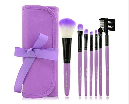 Daorier Pinceaux Maquillage Trousse Brush Cosmétique pour Eyeliner Lip Fondation Poudre Set Brushes Portable Ensemble,7Pcs (Pourpre)