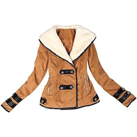ZARU Mujeres falso abrigo de piel de chaqueta corta Parka abrigo Outwear abrigo superior grueso