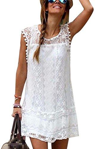 Frauen Locker Los Spitzen Scoop Hals Shift T - Shirt Beach Party - Kleid White M Scoop Neck Shift Dress