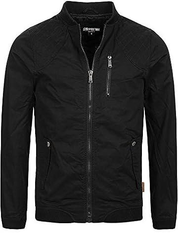 S!RPREME Herren Jacke Ambrose Übergangsjacke Sommerjacke Militär Used Look Vintage Style Softshell-Jacke 10051BS Schwarz