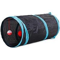 Mascota Perro de juguete/juguete/juguete de gato, Y56mascota túnel Gatito Gato arrugada túnel de juguete con bola Jugar Fun juguete interactivo juguetes para perros gatos mascotas, 50* 25cm, negro