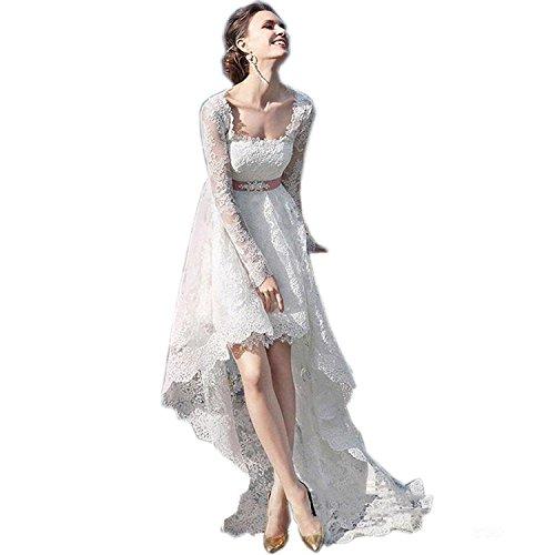 Beyonddress Damen Spitze A Line hoch niedrig Hochzeitskleid Brautkleider mit langen...