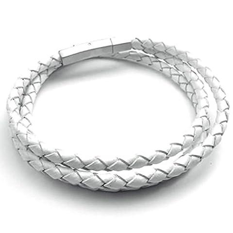 AMDXD Bijoux Acier Inoxydable Bracelets à Manchette pour Hommes Cercle Argent Blanc