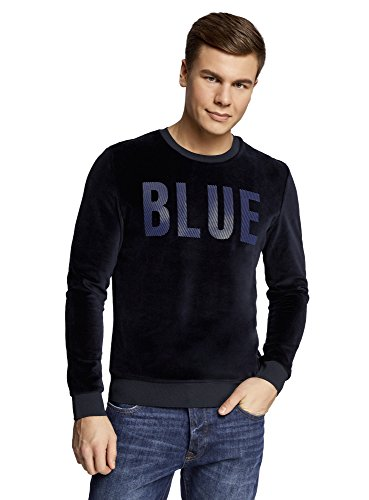 oodji-Ultra-Homme-Sweat-Shirt-en-Velours-avec-Inscription-Bleu-FR-56-XL