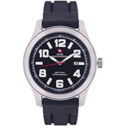 Swiss Mountaineer Mens Watch Black Silicone Rubber Band Large Easy Read Dial Date SM8040
