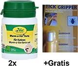 Wurm-o-Vet forte für Katzen Set 2x20g + Gratis Zeckenzange. Schafft im Darm ernährungsbedingt ein natürlich wurmfeindliches Milieu.
