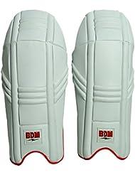 BDM dynamique de Super Cricket Wicket Keeping Pads Leg Guard PU cuir blanc