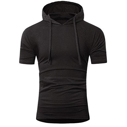 Baumwolle Schwarzen Kurzen Ärmel T-shirt (Baumwolle T-Shirt Herren, DoraMe Männer Kurze Ärmel Hemd Sommer Mode Kapuze Pullover Slim Fit Sportlich Bluse Solide Lässig Shirt (Schwarz, Asien Größe L))
