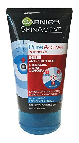 Skin Naturals Detergenza Garnier PureActive Intense, 3 in 1, Anti-Punti Neri - 150 ml